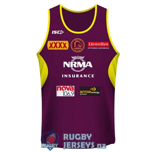 brisbane broncos purple yellow 2018-2019 rugby tank top