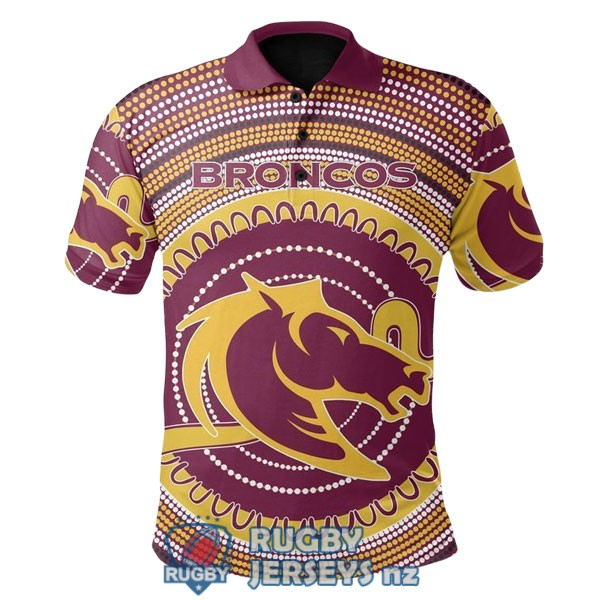 brisbane broncos rugby yellow red white 2020 2021 polo