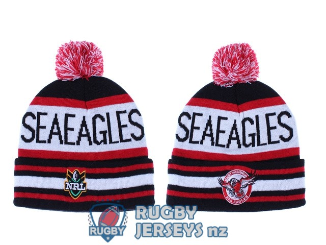 manly sea eagles NRL red white black beanies