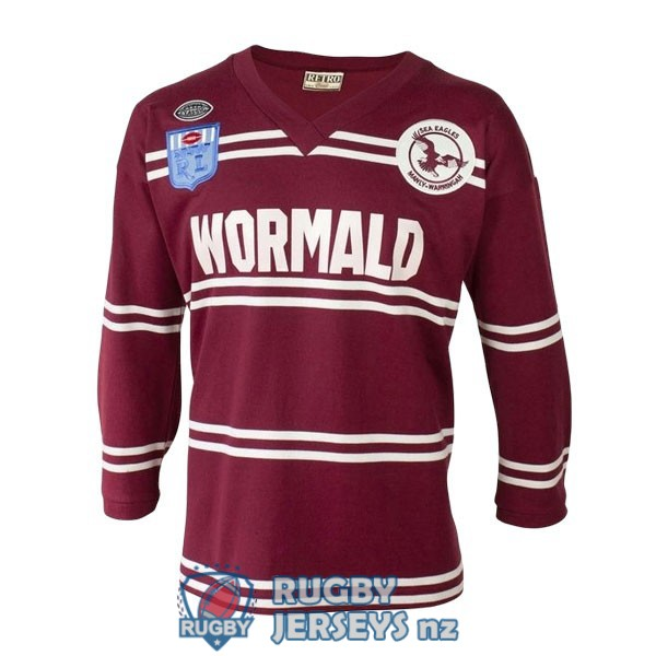 manly sea eagles retro long sleeve 1987 rugby jersey
