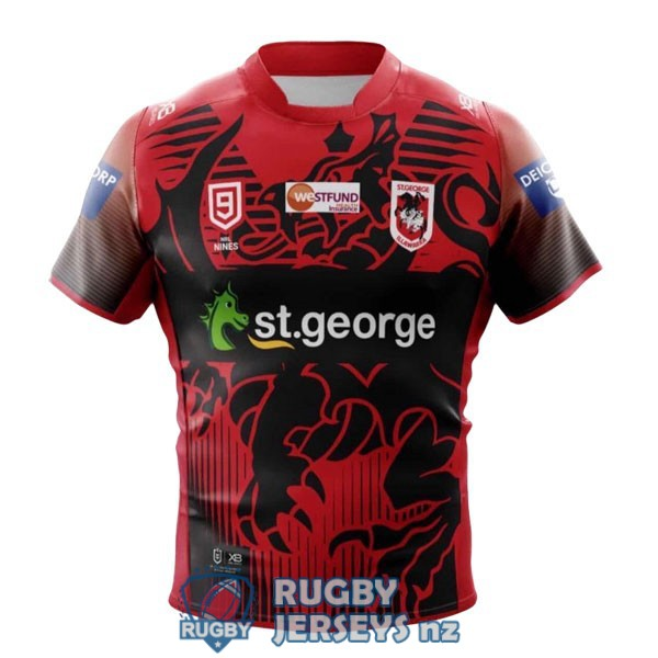 st george illawarra dragons 9s red black 2020 2021 rugby jersey