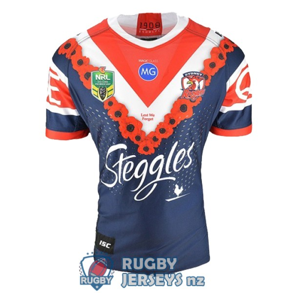 sydney roosters commemorative 2018-2019 rugby jersey