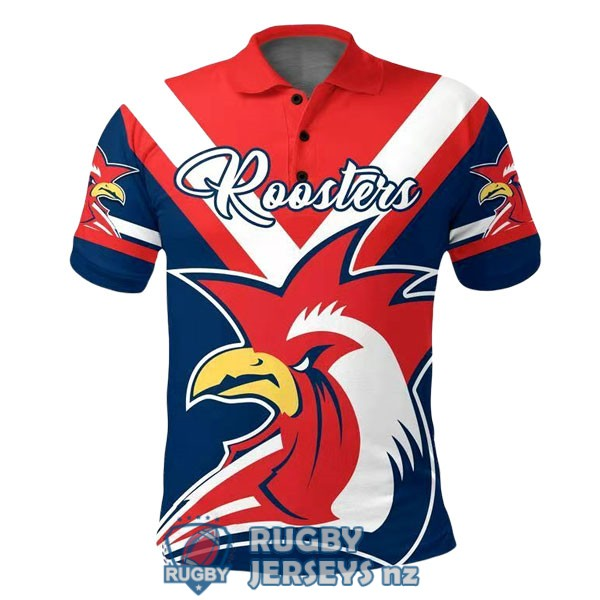 sydney roosters rugby red white blue 2020 2021 polo
